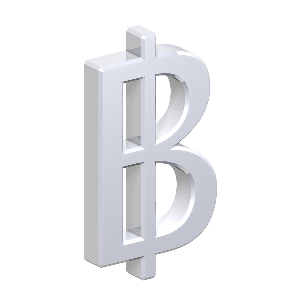 Silver Thai Baht Sign Isolated On White.