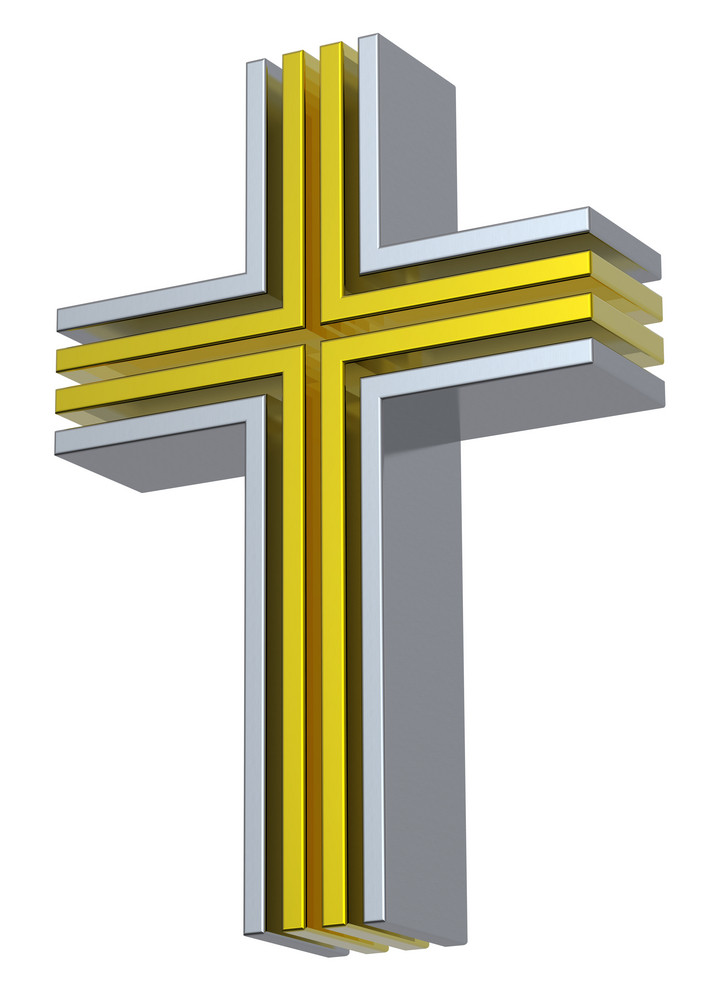 Silver With Gold Christian Cross Isolated On White.