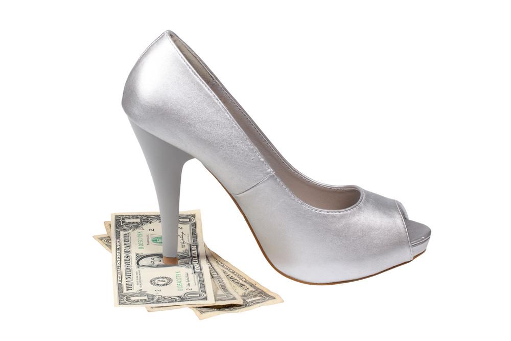 Silver Women's Heel Shoe With Dollar Bills