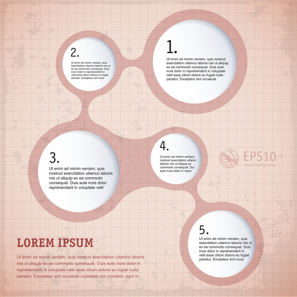 Simply Vintage Infographic Step By Step Vector Template