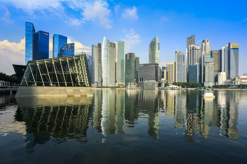 Singapore business buildings with reflection