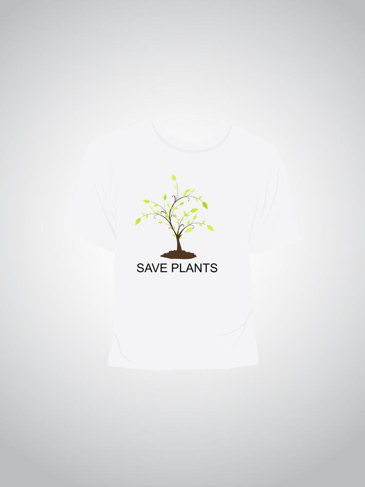 Single Tshirt With Saving Plant Concept