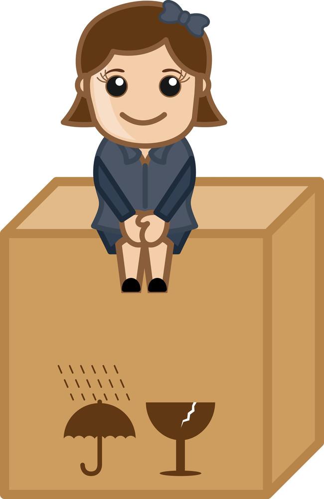 Sitting On A Fragile Box - Vector Character Cartoon Illustration
