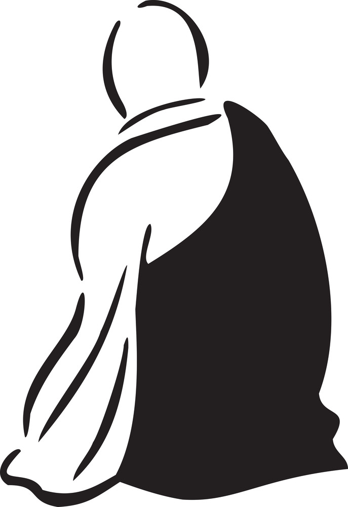 Sitting Pose Of A Monk.