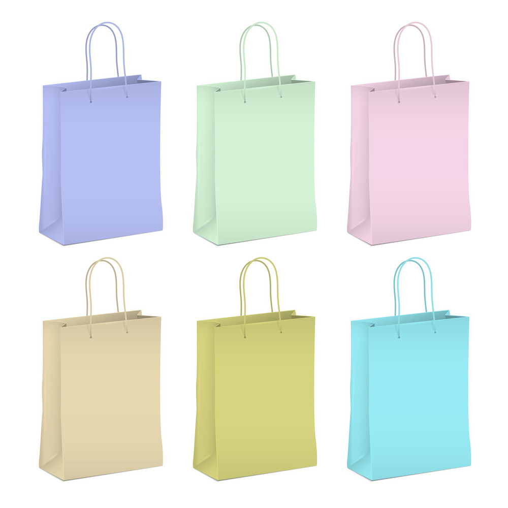Six Empty Shopping Paper Bags In Pastel Colors