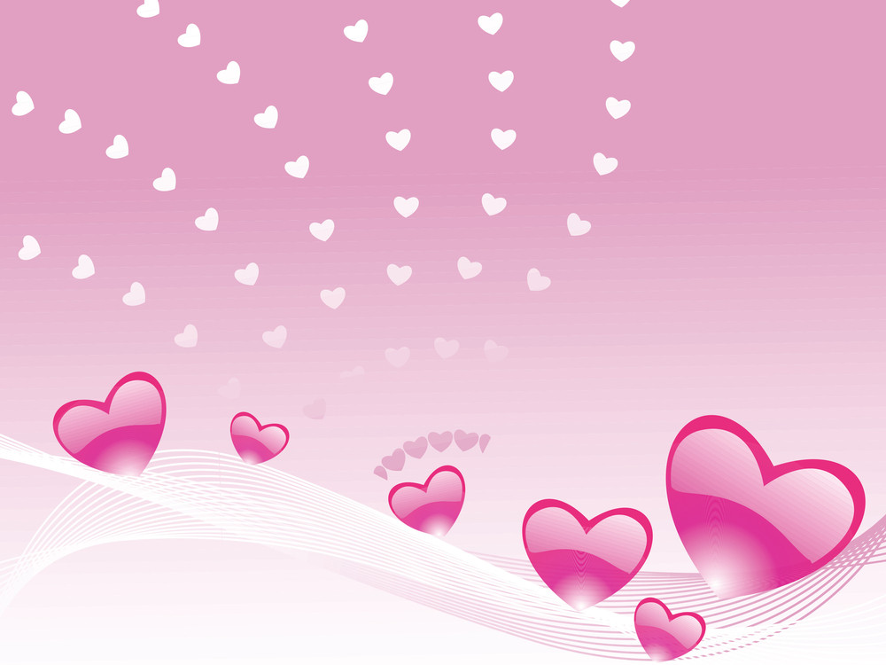 Six Gradient Pink Heart And Waves Elements
