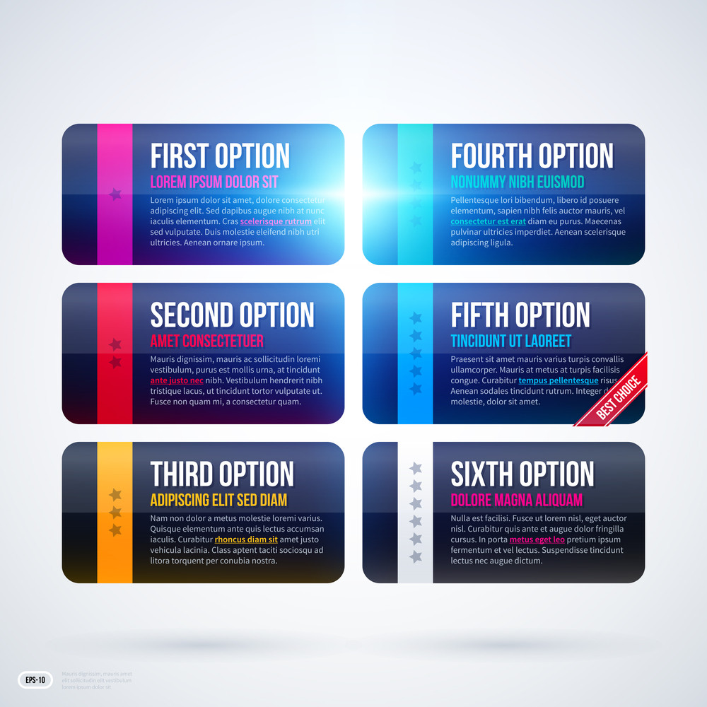 Six Options/banners On White Background. Eps10