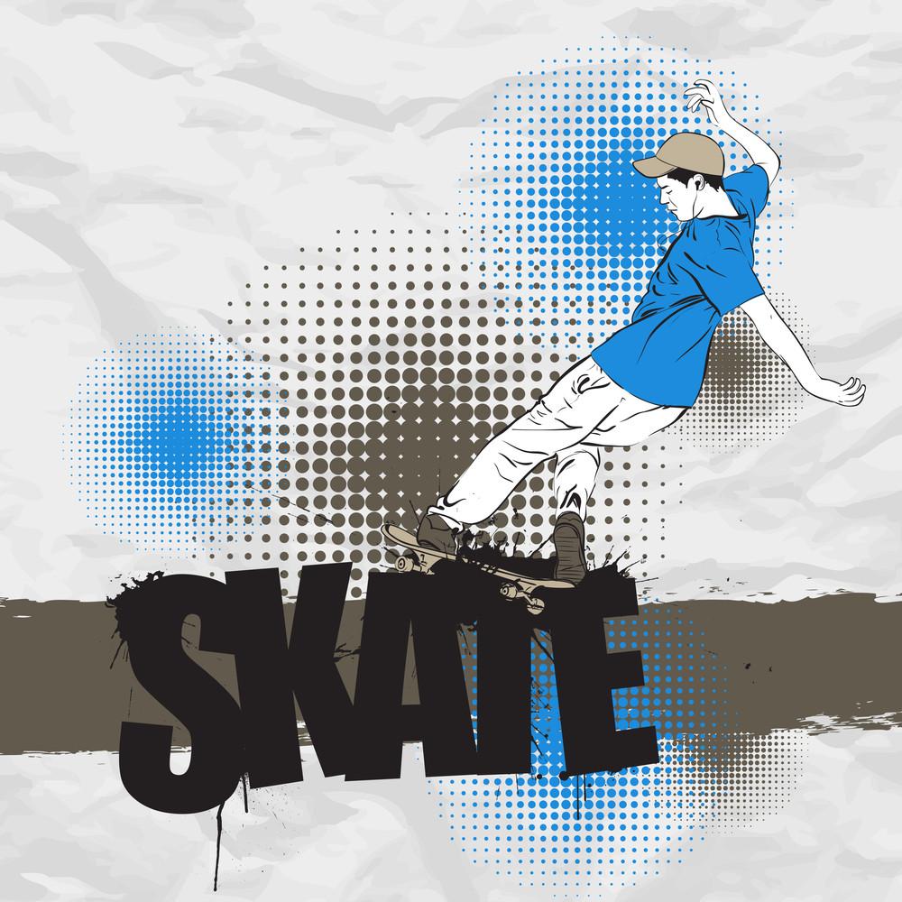 Skateboarder In Action On A Grunge-background. Vector Illustration.