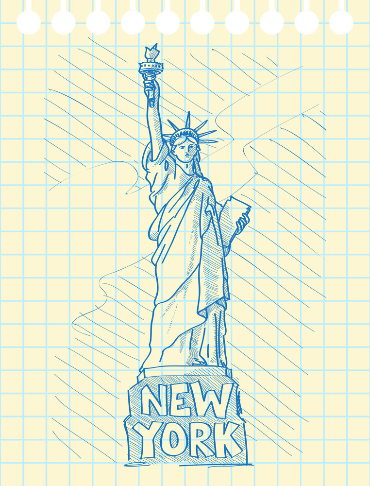 Sketch Draw Of Statue Of Liberty In New York