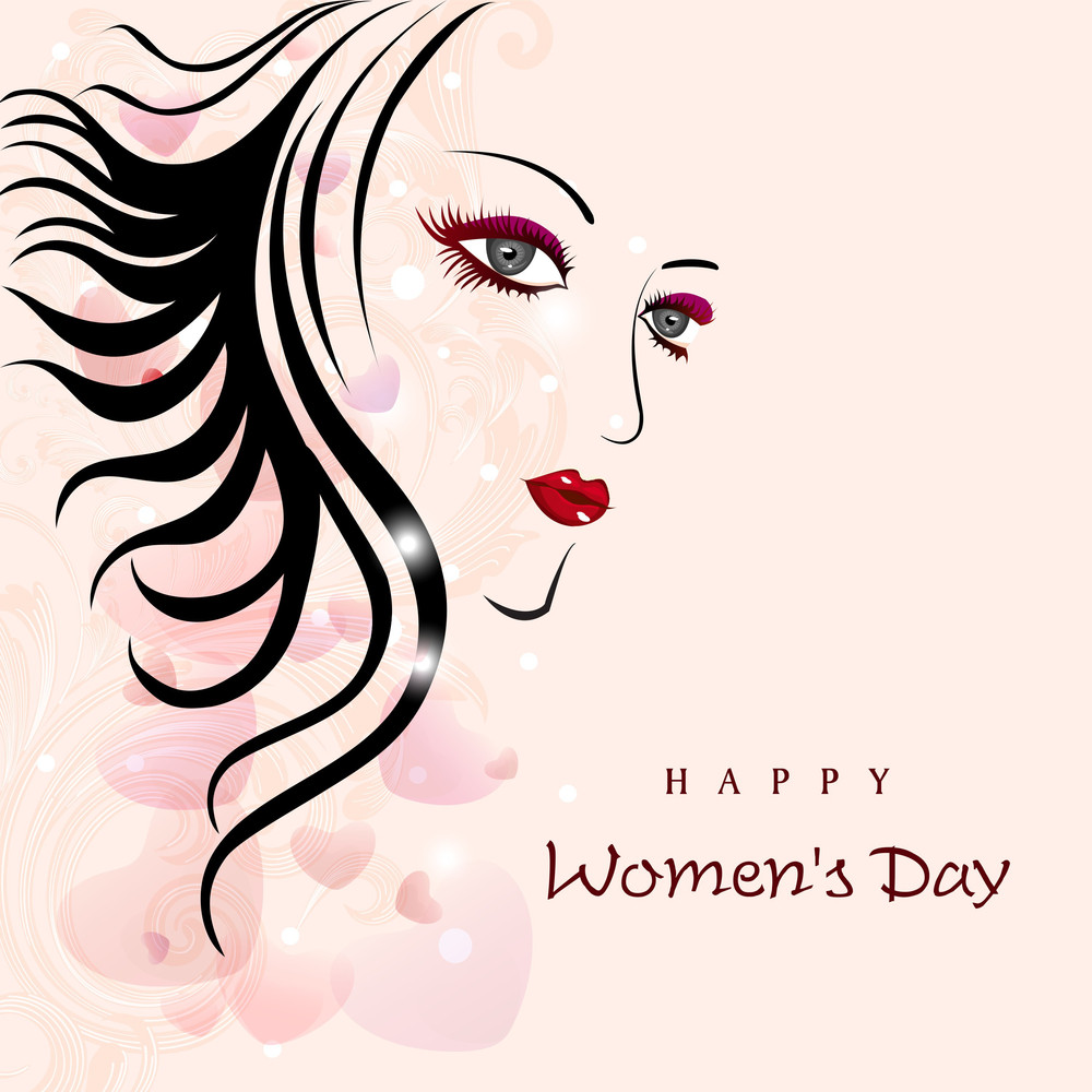Sketch Of A Beautiful Girl For Happy Women's Day Background.