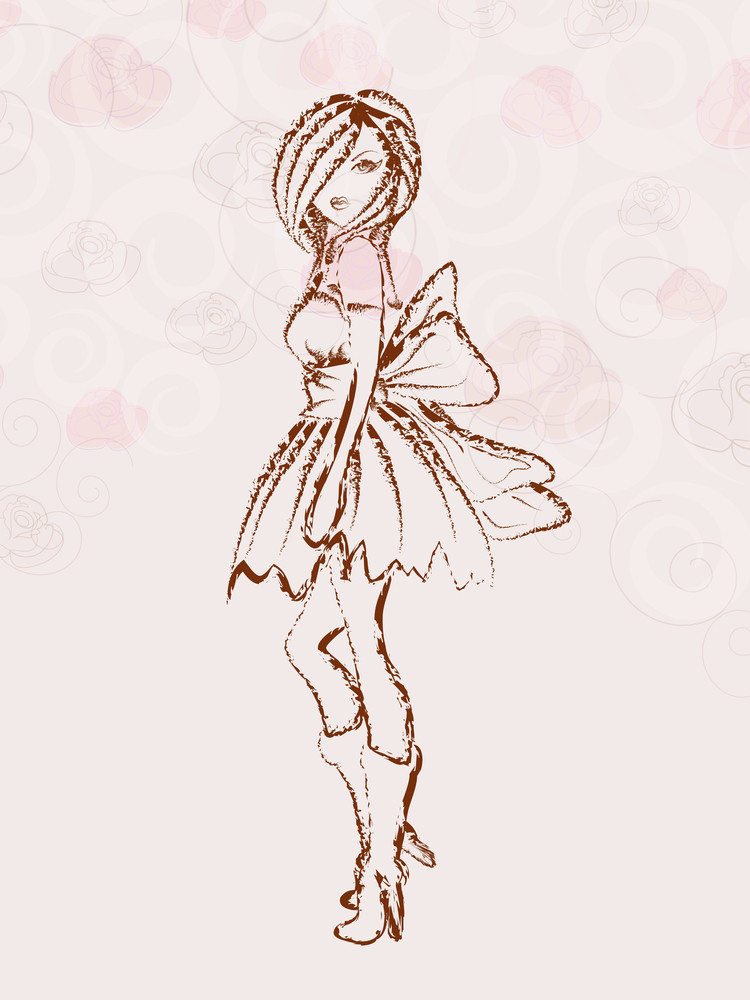 Sketch Of A Fashionable Young Girl On Floral Decorated Background
