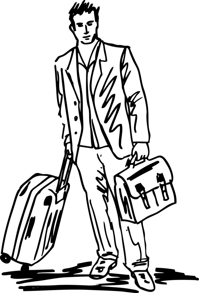 Sketch Of A Successful Young Business Man With Travel Bag. Vector Illustration