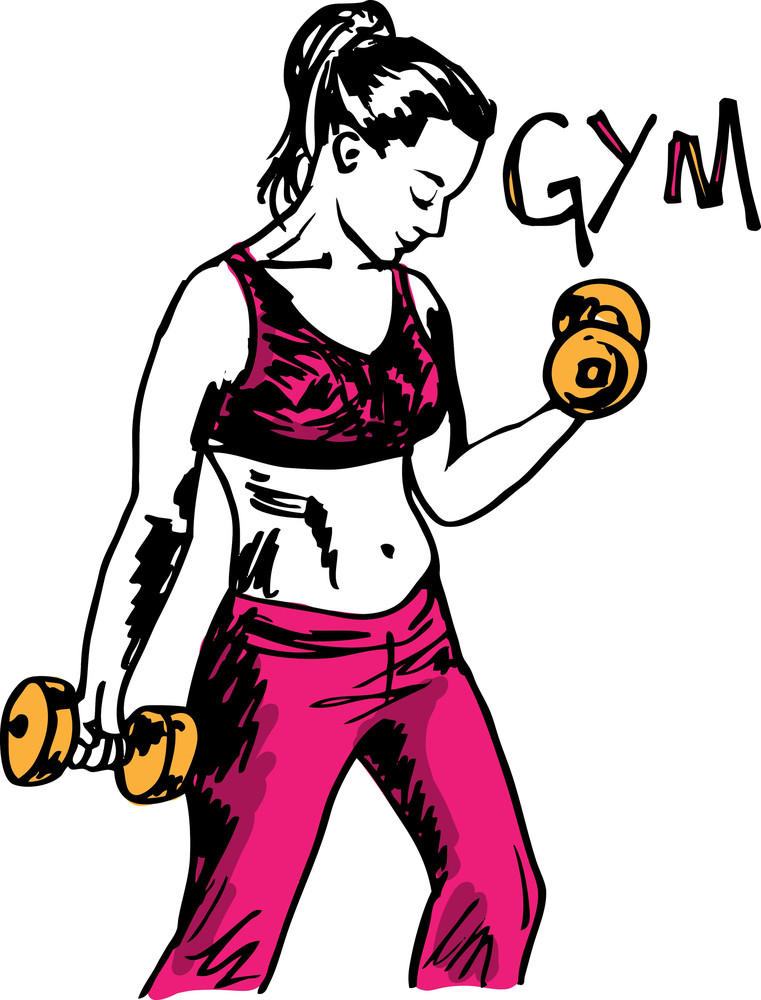 Sketch Of A Woman Working Out At The Gym With Dumbbell Weights