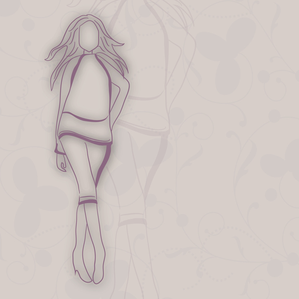 Sketch Of A Young Girl On Abstract Grey Background