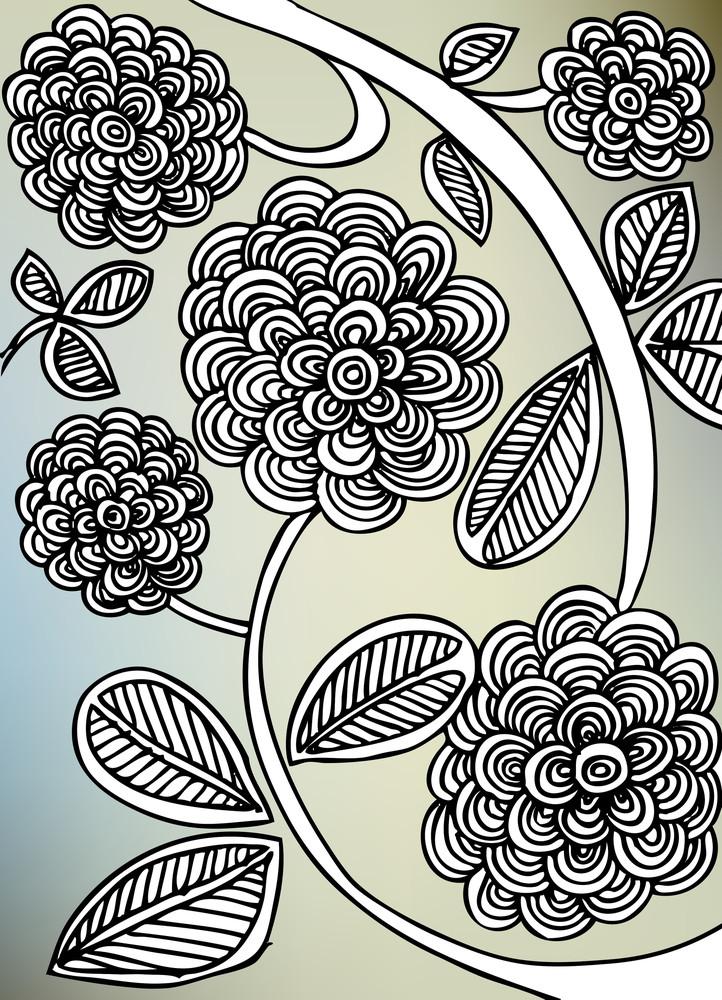 Sketch Of Abstract Flower Background For Design. Vector Illustration
