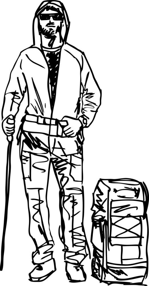 Sketch Of Backpacker. Vector Illustration