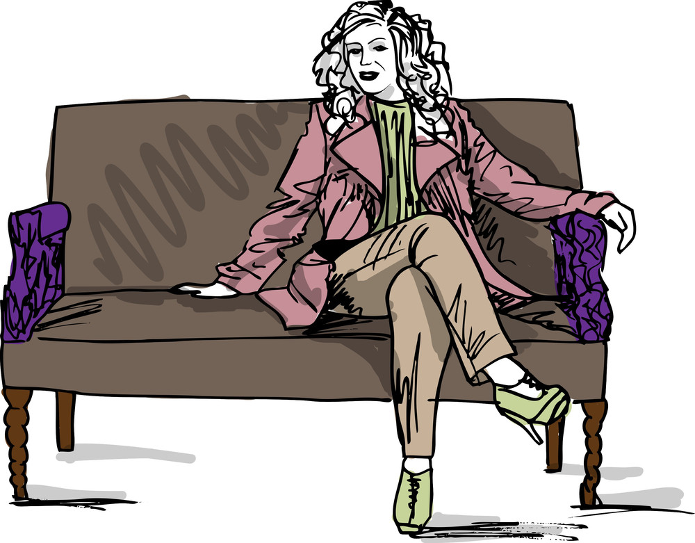 Sketch Of Beautiful Luxurious Woman Sitting On A Vintage Couch. Vector Illustration