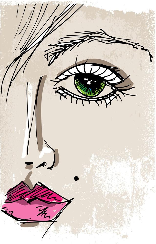 素描美麗的婦女的臉。矢量插圖