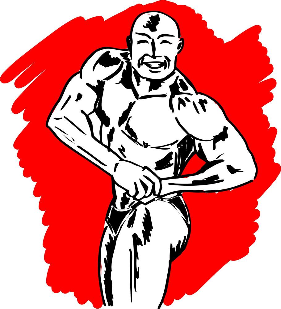 Sketch Of Bodybuilder. Vector Illustration