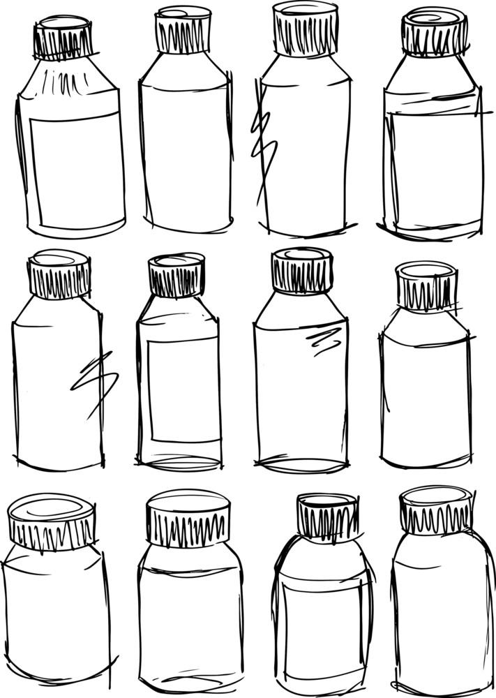 Sketch Of Bottles. Vector Illustration