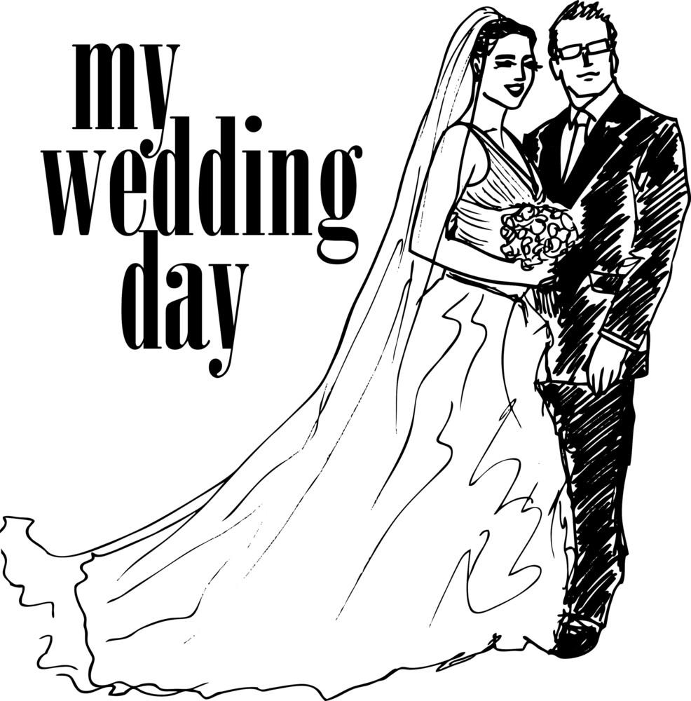 Sketch Of Bride And Groom. Vector Illustration