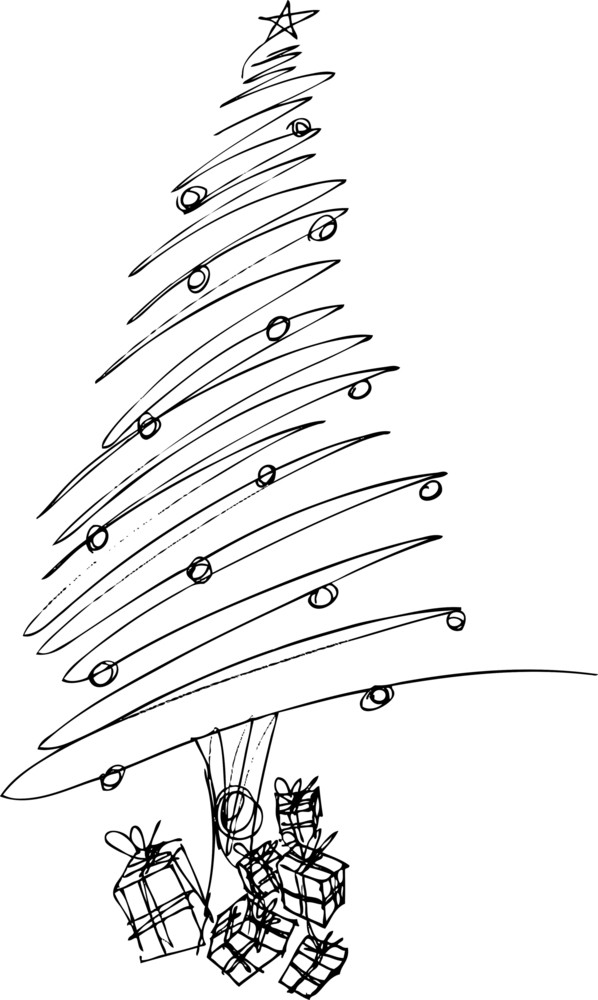 Drawing Christmas Tree Sketch.Sketch Of Christmas Tree Vector Illustration Royalty Free
