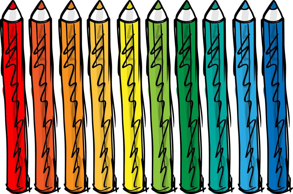 Sketch Of Color Pencils. Vector Illustration