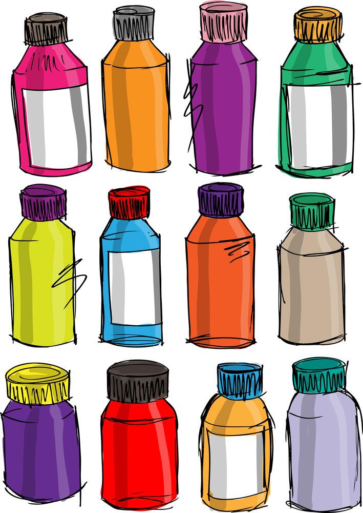 Sketch Of Colorful Bottles. Vector Illustration