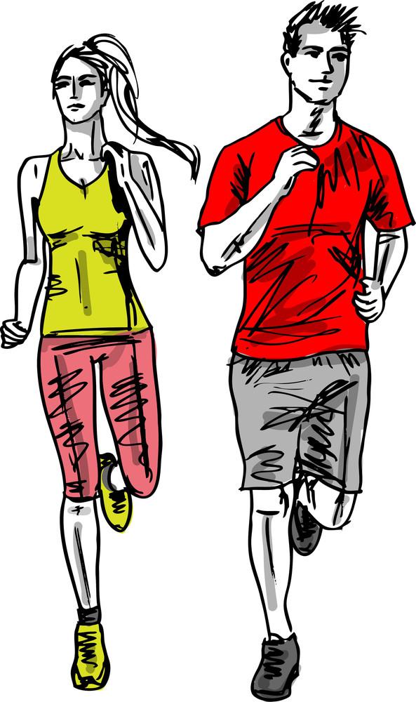 Sketch Of Couple Marathon Runners. Vector Illustration