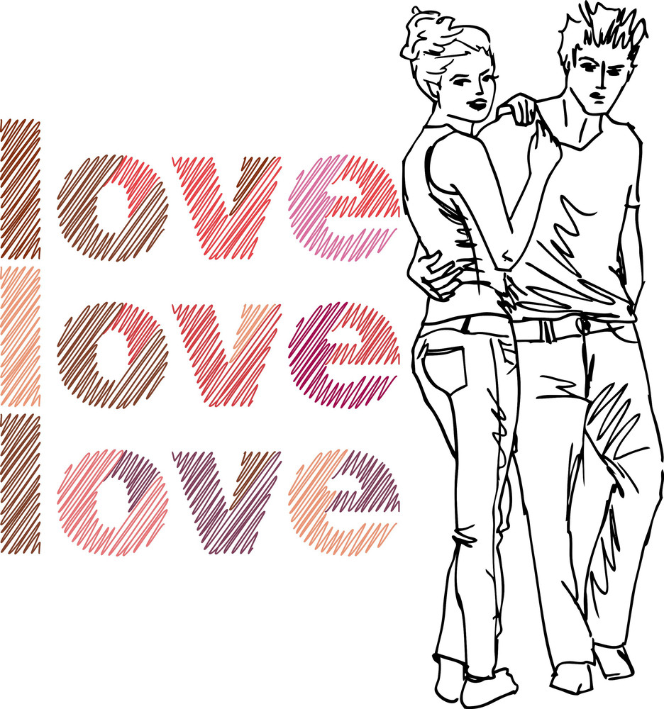 Sketch Of Couple. Vector Illustration