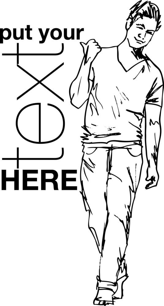 Sketch Of Fashion Handsome Man. Vector Illustration