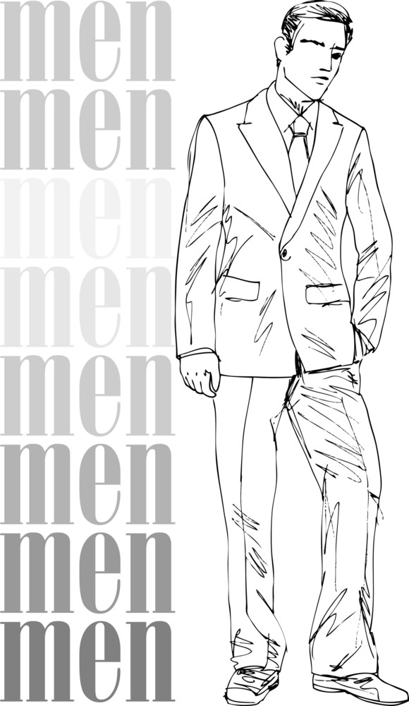Sketch Of Fashion Handsome Men. Vector Illustration