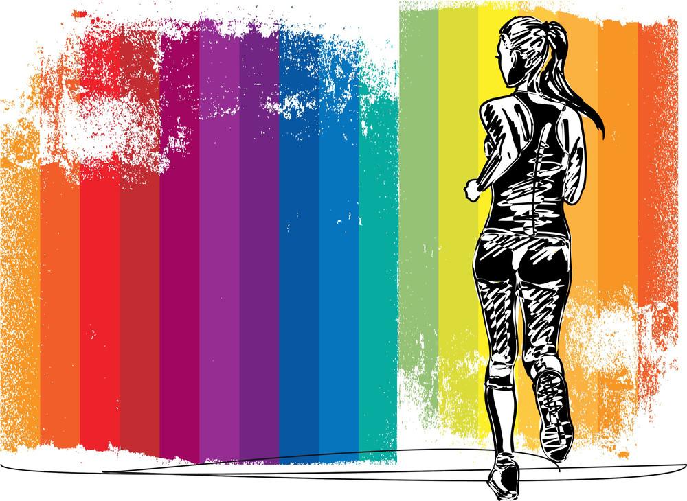 Sketch Of Female Marathon Runner  Vector Illustration