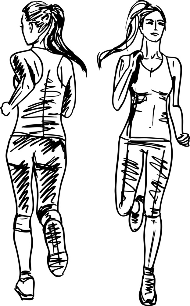 Sketch Of Female Marathon Runner