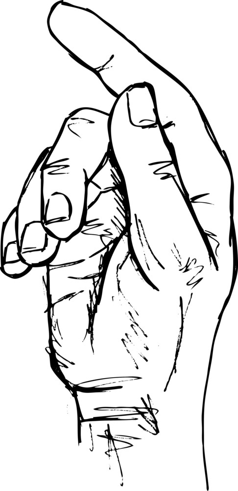 Sketch Of Hand In The Gesture Of Touching