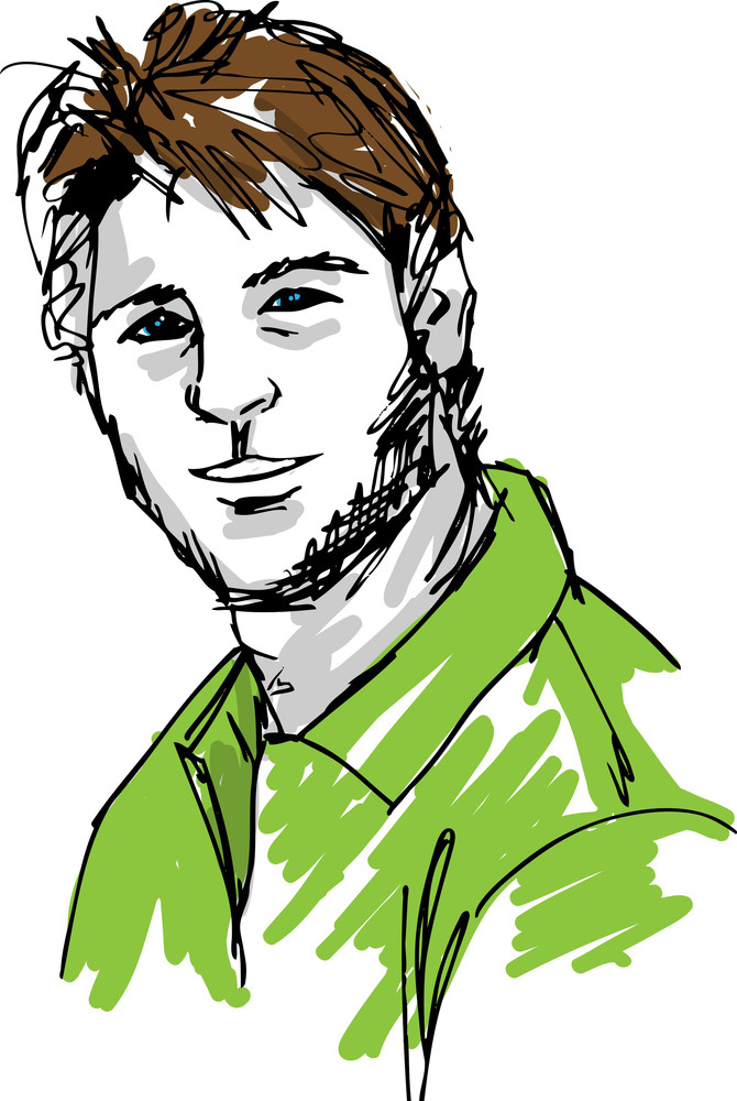 Sketch Of Handsome Man Face Vector Illustration Royalty Free Stock