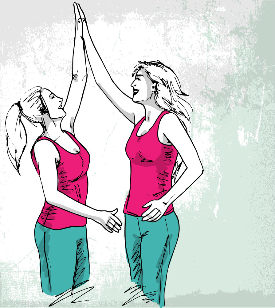Sketch Of Happy Young Women. Vector Illustration