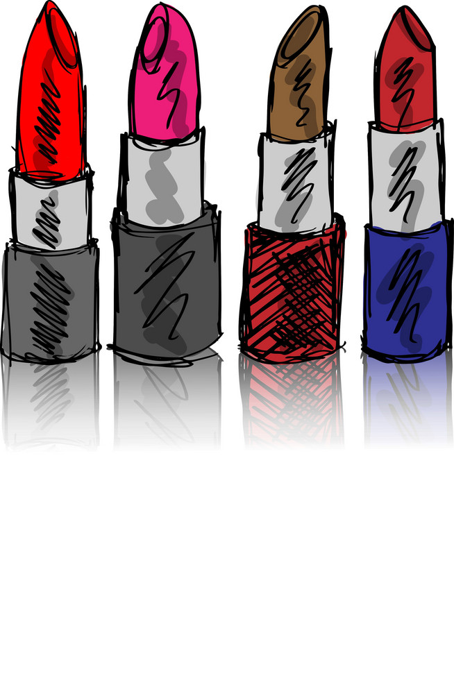Sketch Of Lipsticks Isolated On A White Background. Vector Illustration