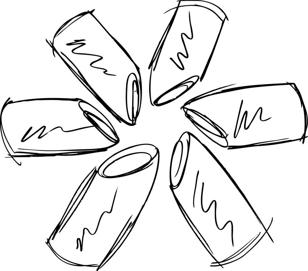 Sketch Of Lipsticks. Vector Illustration