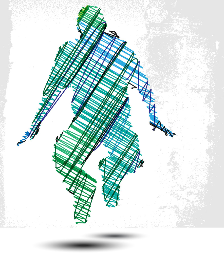 Sketch Of Man Suspended In The Air. Vector Illustration
