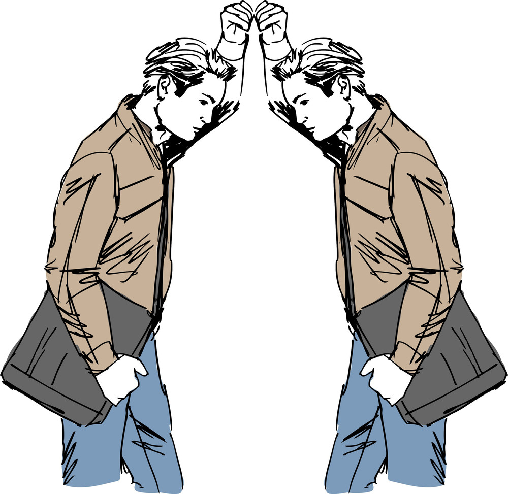 Sketch Of Man Takes A Look At Himself In The Mirror. Vector Illustration