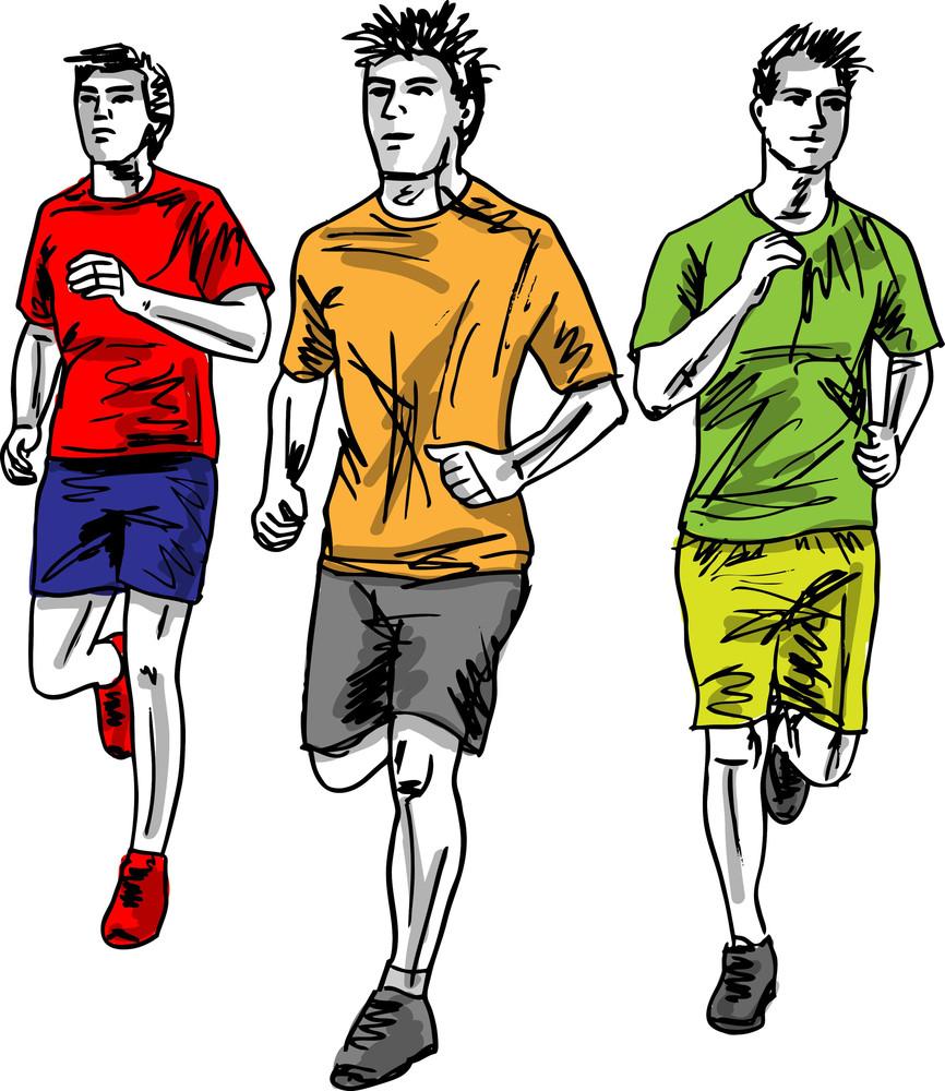 Sketch Of Men Marathon Runners. Vector Illustration