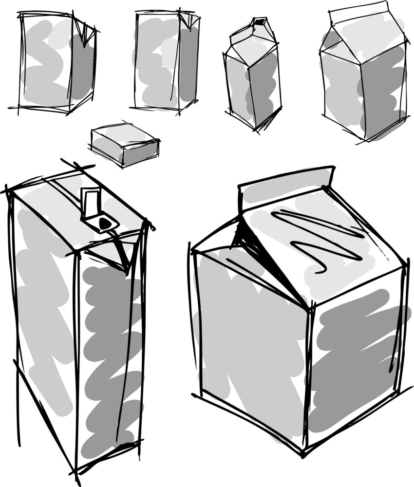 Sketch Of Milk Boxes In Some Different Angle. Vector Illustration