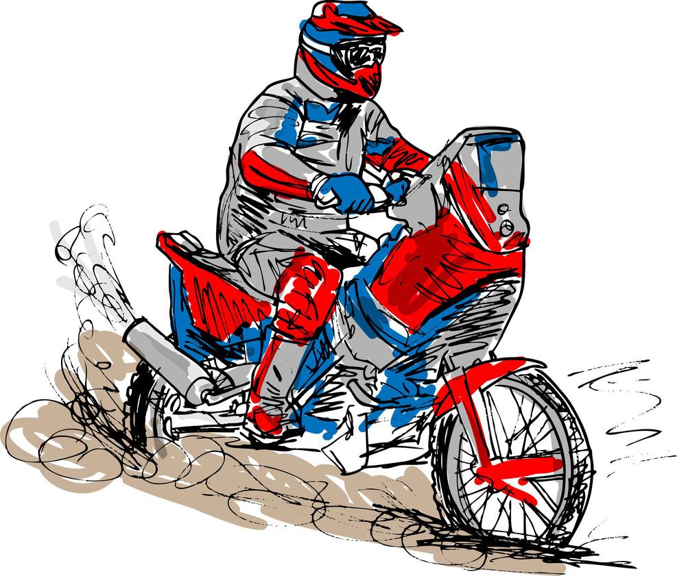 Sketch Of Motocross Bike Increase Speed In Track. Vector Illustration