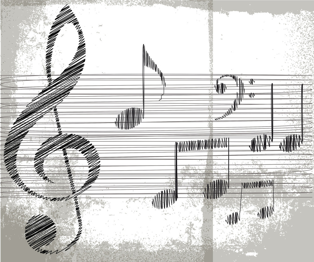 sketch of music notes vector illustration royalty free stock