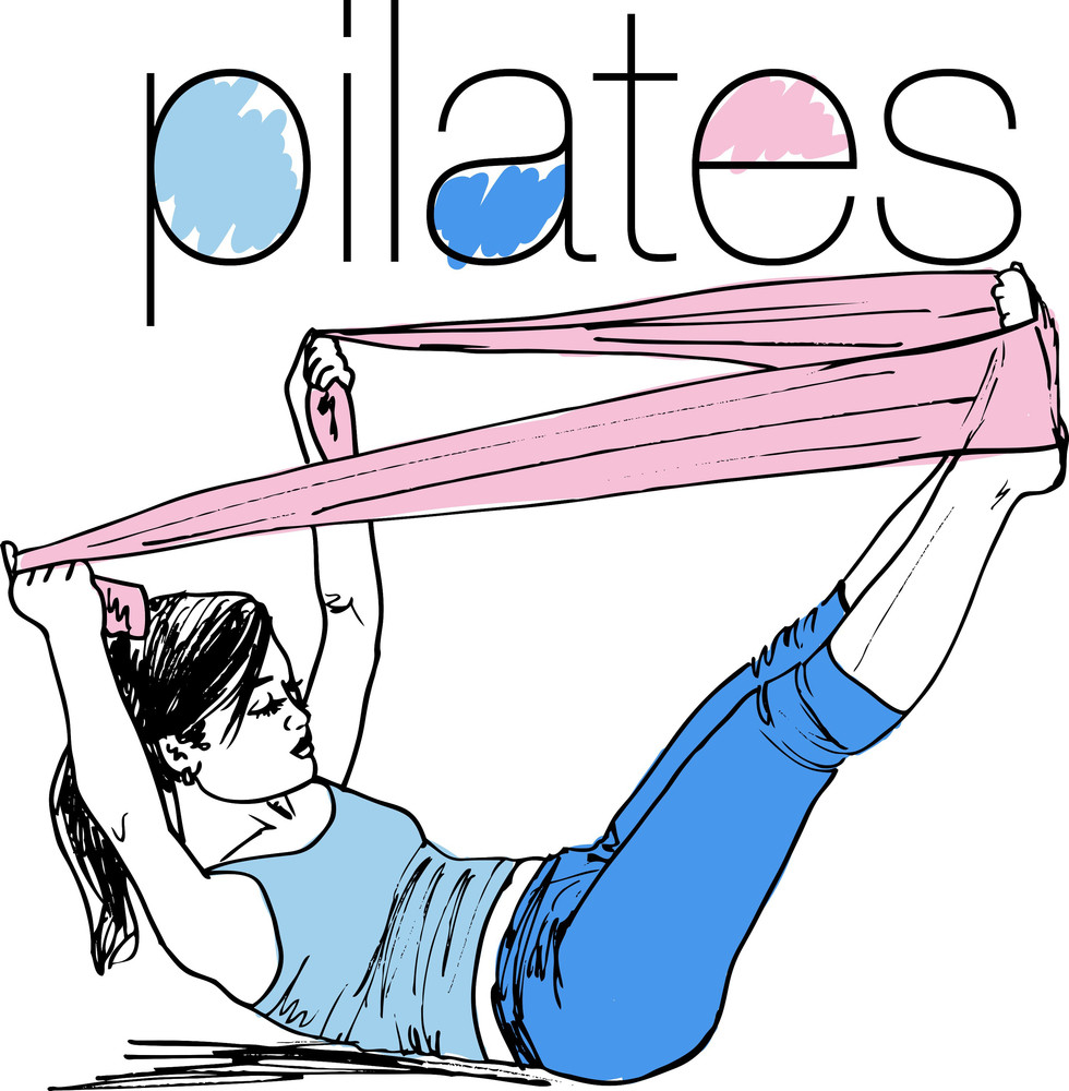Sketch Of Pilates Woman Rubber Resistance Band Fitness Sport Gym. Vector Illustration