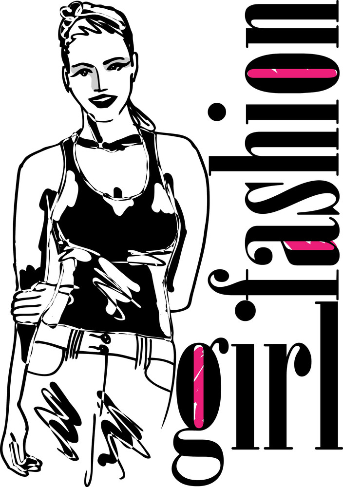 Sketch Of Sexy Fashion Girl. Vector Illustration