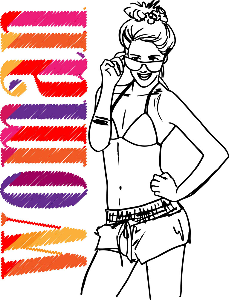 Sketch Of Sexy Girl. Vector Illustration