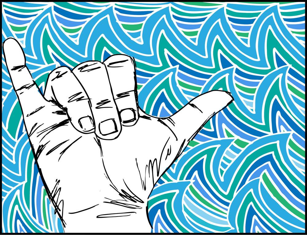 Sketch Of Surf Hand. Vector Illustration