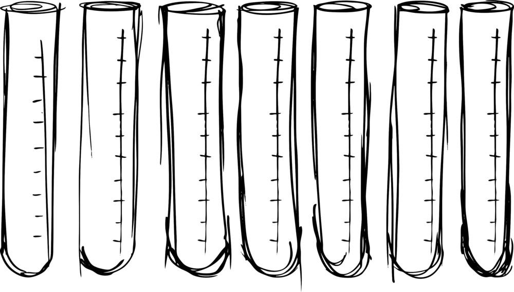Sketch Of Test Tube. Vector Illustration